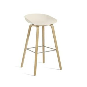 HAY-925843 Aas32 H75 Matt Lacquer Oak Base Stainless Steel Footrest Cream White
