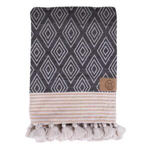 Zusss Hammam Handdoek Met Kwastjes Honing Zwart 0102 004 2501 00 Voor
