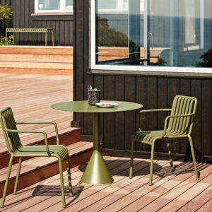 Hay Palissade Cone Table Olive Palissade Armchair Olive Enamel Utensil Holder Sprinkle Black