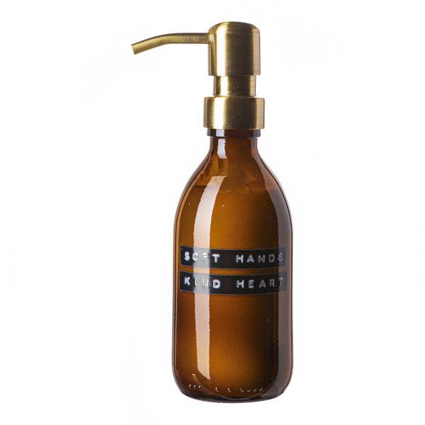 Wellmark Amber Glass Bamboo Aloe Vera Hand Lotion 250ml. Soft Hands Kind Heart. Brass 8720165018321 Kopie