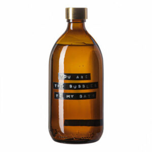 Wellmark Amber Glass Bamboo Bath Soap 500ml Messing You Are The Bubbles To My Bath 8720165018611