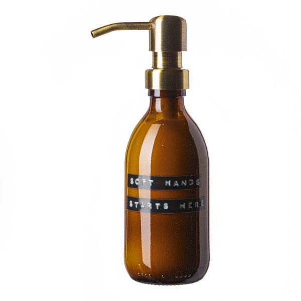 Wellmark Amber Glass Bamboo Hand Lotion 250ml. Soft Hands Starts Here. Brass 8720165018314