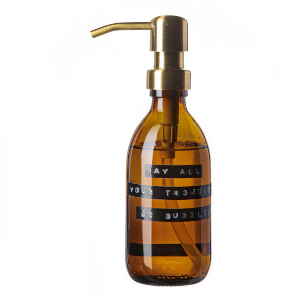 Wellmark Soap Dispenser Amber Glass Bamboo Hand Soap 250ml. May All Your Troubles Be Bubbles. Brass 8720165018093