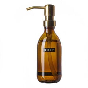 Wellmark Soap Dispenser Amber Glass Bamboo Hand Soap 250ml. Soap. Brass 8720165018079