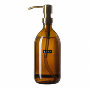 Wellmark Soap Dispenser Amber Glass Bamboo Hand Soap 500ml. Soap. Brass 8720165018055