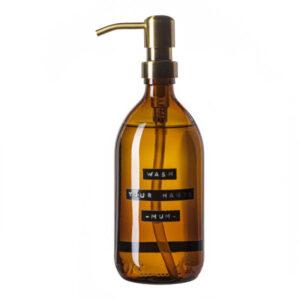 Wellmark Soap Dispenser Amber Glass Bamboo Hand Soap 500ml. Wash Your Hands Mum. Brass 8720165018031