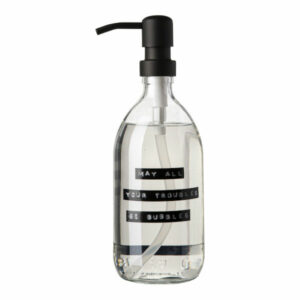 Wellmark Soap Dispenser Transparent Glass Fresh Linen Hand Soap 500ml Black May All Your Troubles Be Bubbles 8719325913194 1 1