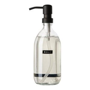 Wellmark Soap Dispenser Transparent Glass Fresh Linen Hand Soap 500ml Black Soap 8719325913187