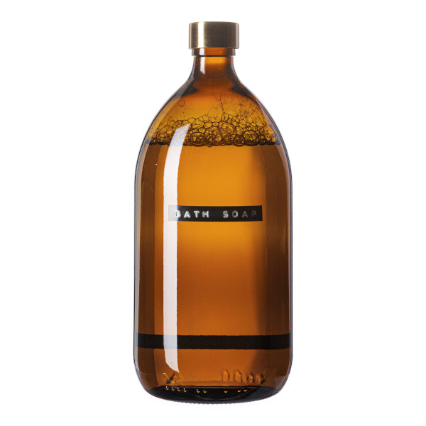 Wellmark Amber Glass Bamboo Bath Soap 1l Brass Bath Soap 8720165018604
