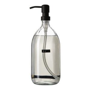 Wellmark Soap Dispenser Transparent Glass Fresh Linen Hand Soap 1l Black Soap 8719325913163