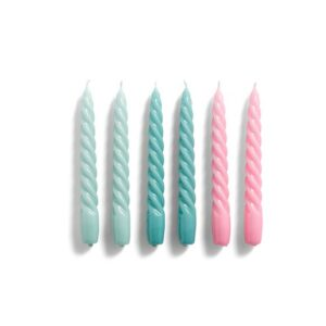 540756 Candle Twist Set Of 6 Arctic Blue Teal Pink